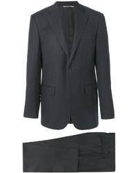 Traje de lana de rayas verticales en gris oscuro de Canali