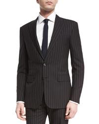 Traje de lana de rayas verticales en gris oscuro de Ralph Lauren