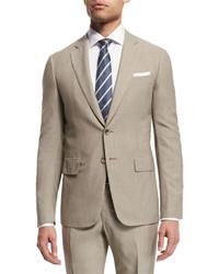 Traje de lana de rayas verticales marrón claro de Isaia