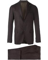 Traje de lana en marrón oscuro de Lardini