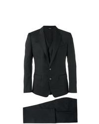 Traje de tres piezas a cuadros negro de Dolce & Gabbana
