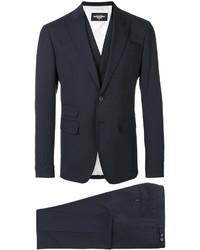 Traje de tres piezas de lana azul marino de DSQUARED2