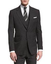Traje de tres piezas de lana de rayas verticales en gris oscuro de Tom Ford