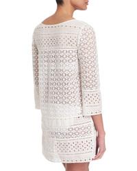 Túnica playera de crochet blanco de Diane von Furstenberg
