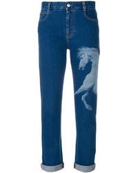 Vaqueros boyfriend estampados azules de Stella McCartney