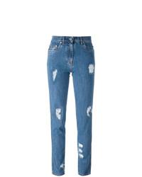 Vaqueros desgastados azules de Moschino