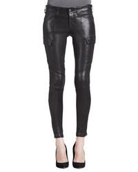 Vaqueros pitillo de cuero negros de J Brand Jeans