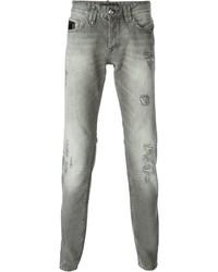Vaqueros pitillo desgastados grises de Philipp Plein