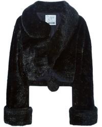 Veste de fourrure noire Moschino