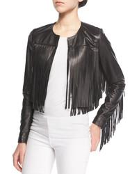Veste en cuir à franges noire Neiman Marcus