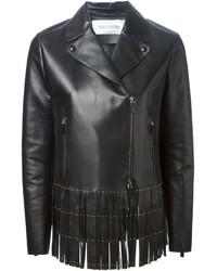 Veste en cuir à franges noire Valentino