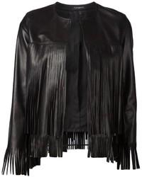 Veste en cuir à franges noire