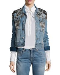 Veste en jean à étoiles bleue claire Roberto Cavalli
