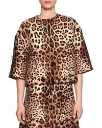 Veste imprimée léopard brune claire Dolce & Gabbana