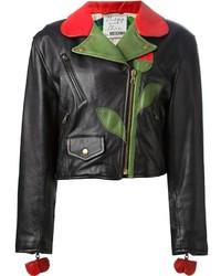 Veste motard en cuir à fleurs noire Moschino