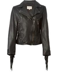 Veste motard en cuir à franges noire P.A.R.O.S.H.