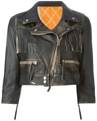 Veste motard en cuir à franges noire S.W.O.R.D.