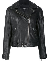 Veste motard en cuir noire 7 For All Mankind
