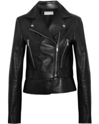 Veste motard en cuir noire Balenciaga