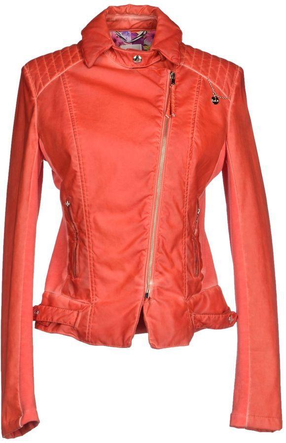 Veste motard en cuir orange Patrizia Pepe