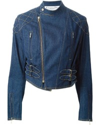 Veste motard en denim bleue Christian Dior