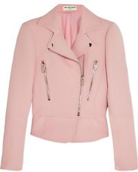 Veste motard en laine rose Balenciaga