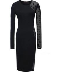 Vestido ajustado a lunares negro
