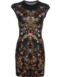 Vestido ajustado con print de flores negro
