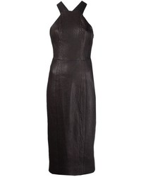 Vestido ajustado de cuero negro