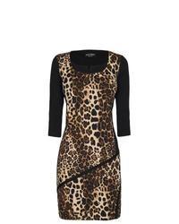 Vestido ajustado de leopardo marrón
