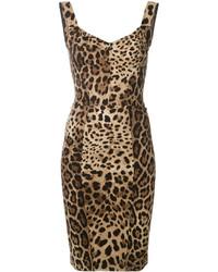 Vestido ajustado de leopardo marrón de Dolce & Gabbana