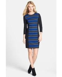 Vestido ajustado de rayas horizontales azul