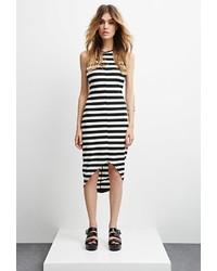 Vestido ajustado de rayas horizontales en negro y blanco