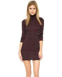 Vestido ajustado de rayas horizontales en rojo y negro