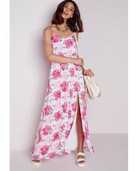 Vestido blanco con flores rosas
