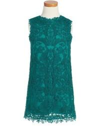 Vestido bordado en turquesa de Tadashi Shoji