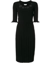 Vestido bordado negro de Fendi