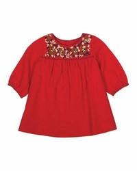 Vestido bordado rojo de Bonpoint