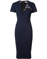 Vestido camisa azul marino de Victoria Beckham