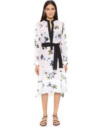 Vestido camisa con print de flores blanca de Proenza Schouler