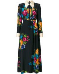 Vestido camisa con print de flores negra de Gucci