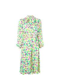 Vestido camisa con print de flores verde de Jean Louis Scherrer Vintage