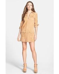 Vestido camisa de ante marrón claro