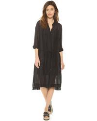 Vestido camisa de rayas verticales negra de DKNY