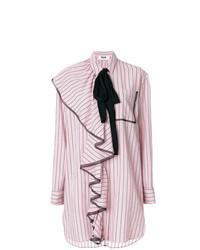Vestido camisa de rayas verticales rosada