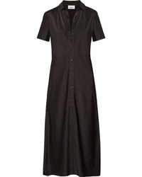 Vestido camisa de satén negra de DKNY