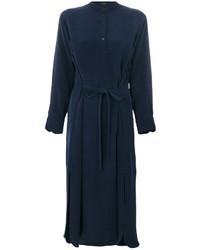 Vestido camisa de seda azul marino de Joseph