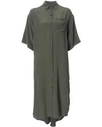 Vestido camisa de seda verde oliva de OSKLEN