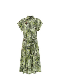 Vestido camisa estampada verde oliva de Andrea Marques
