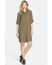 Vestido camisa verde oliva de Eileen Fisher